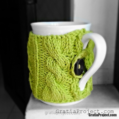 knitted mug cozy cable pattern