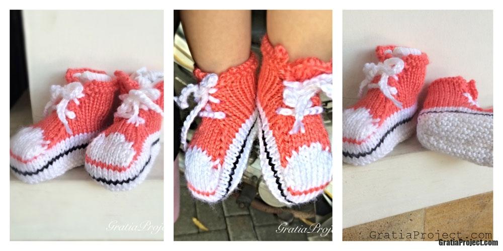 Baby Converse Booties Knitting Pattern