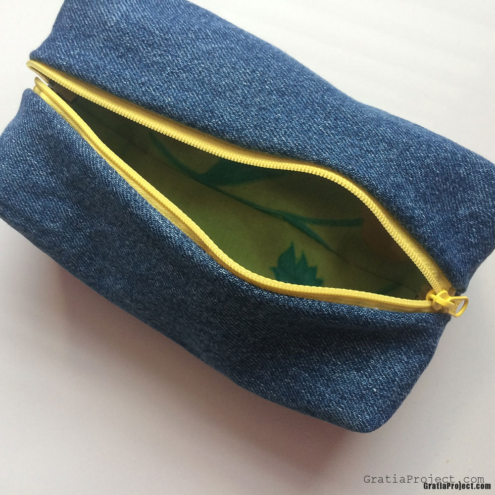 boxy denim pencil case sewing project