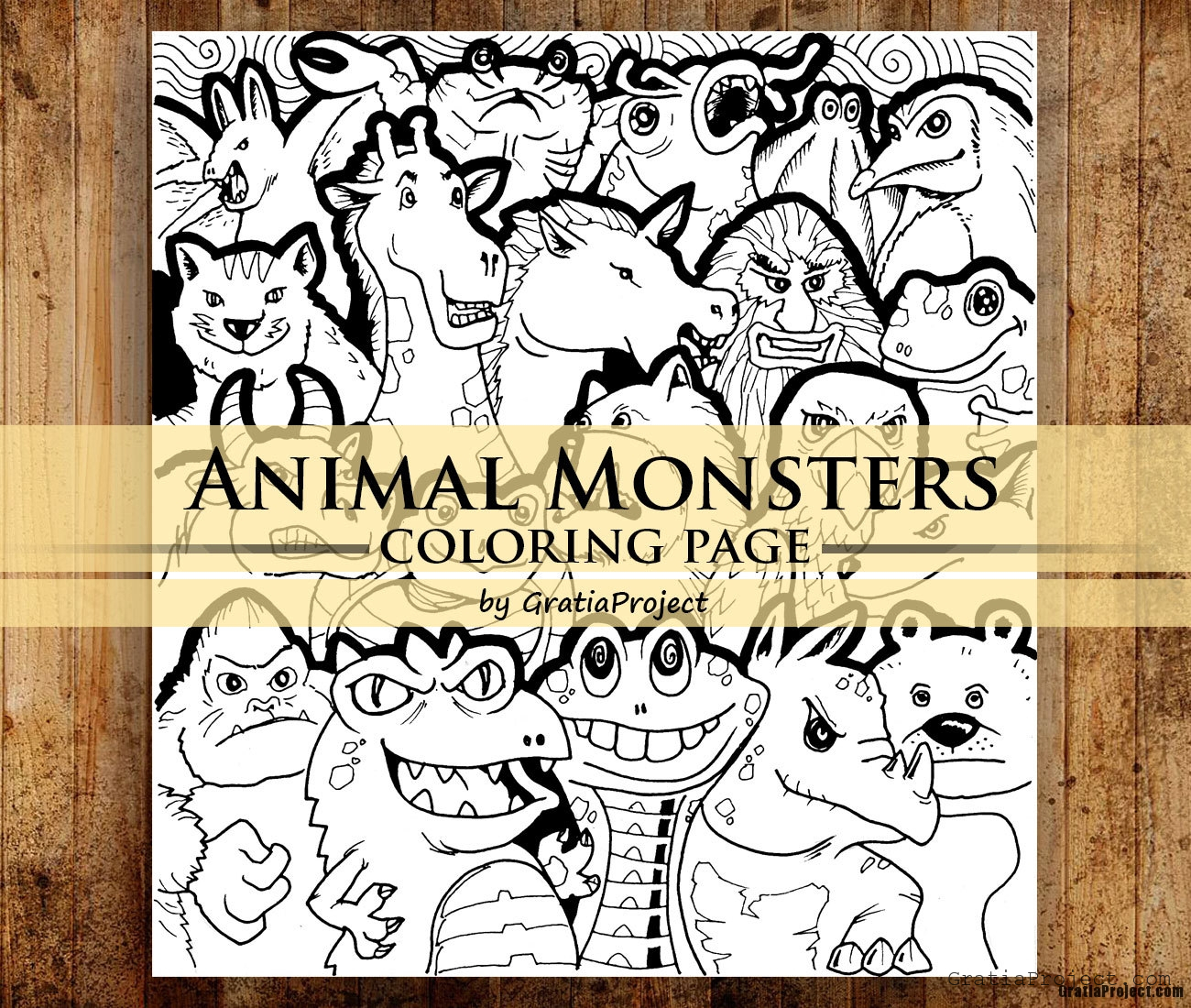 Animal Monsters Printable Coloring Page for Relaxation And Art Therapy