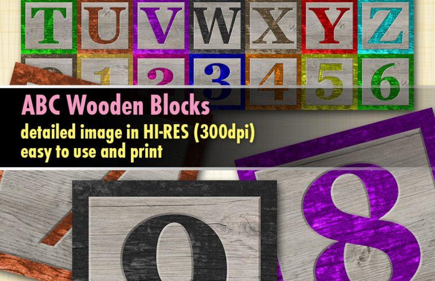 Baby ABC Blocks Wooden Digital Clipart
