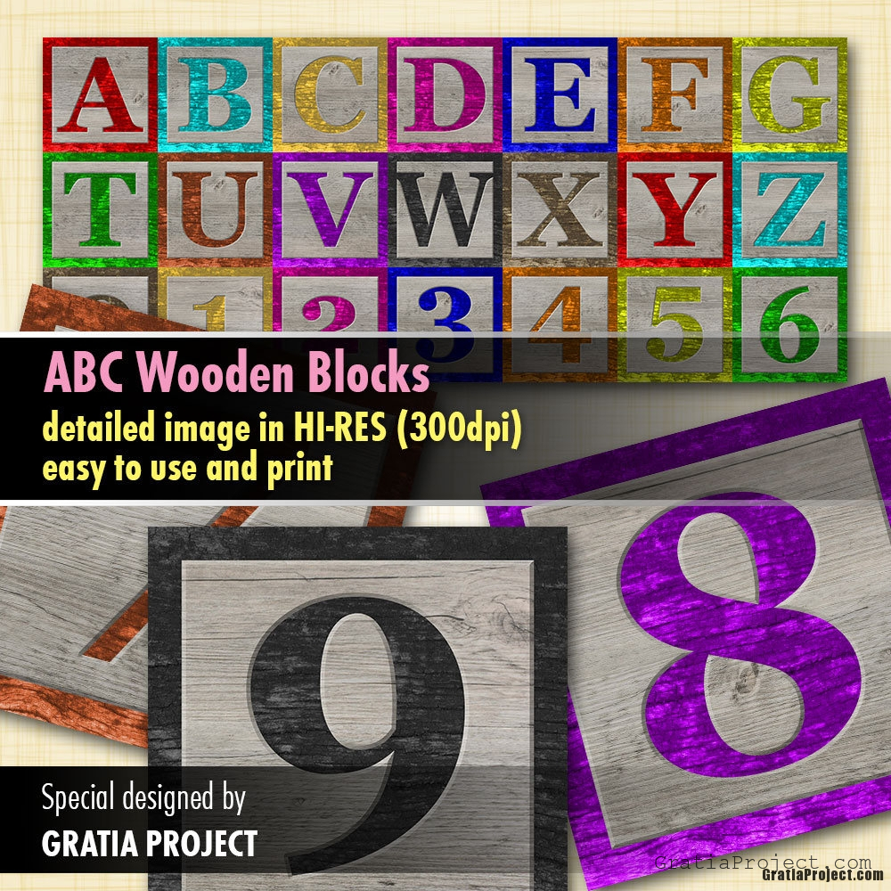 Baby ABC Blocks Wooden Digital Clipart