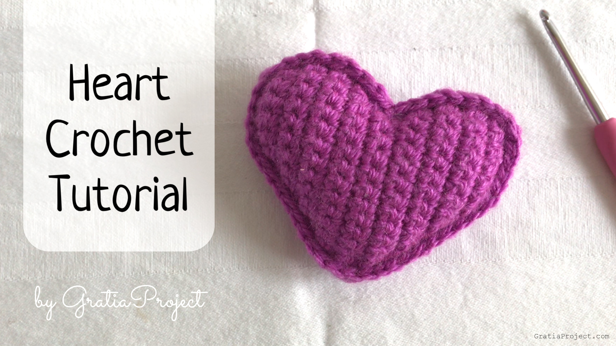 Video step-by-step tutorial of how to do Heart Crochet Tutorial